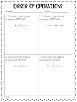 5th Common Core Math Homework Printables by Jennifer Findley | TpT