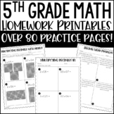 Printable Distance Learning for 5th Grade Math Homework