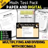5th Grade Unit 3 Math Test Bundle {Paper/Pencil and Paperless}