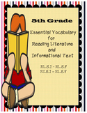 5th Common Core Vocabulary Reading Literature / Informational Text - Editable