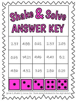 5th Eureka Math- Divide Decimal Dividends by Two Digit Divisors SHAKE & SOLVE