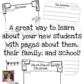 5th (Fifth) Grade Back to School (All About Me) Book {No Prep}