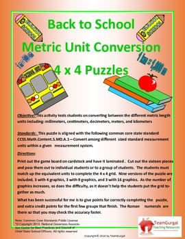 5th(Fifth) Grade Comm Core- Back to School Metric Length Unit Conversion Puzzles