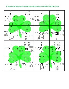 5th (Fifth) Grade Comm. Core- St. Patrick's Day Adding & Subtracting Fractions