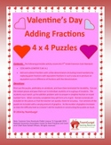 5th (Fifth) Grade Comm. Core- Valentine's Day Adding Fractions Puzzle