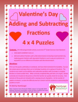 5th (Fifth) Grade Comm. Core- Valentine's Day Adding & Subtracting Fractions