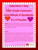 5th (Fifth) Grade Comm. Core- Valentine's Whole Number Division Puzzles