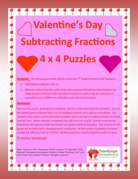 5th (Fifth) Grade Comm. Core- Valentine's Day Subtracting Fractions Puzzles