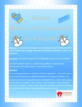 5th (Fifth) Grade Comm Core- Winter Metric System Length Unit Conversion Puzzle