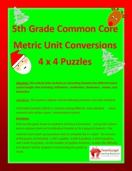 5th (Fifth) Grade Common Core- Christmas Metric System Len