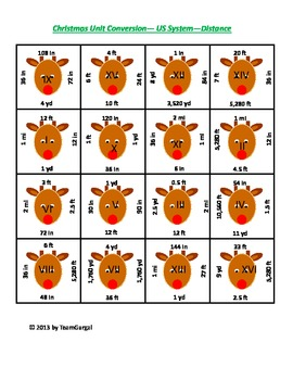 5th (Fifth) Grade Common Core- Christmas Standard System Length Unit Puzzle