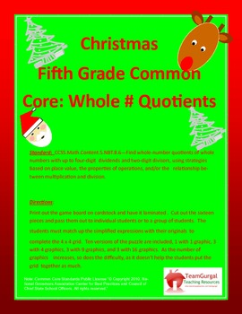 5th (Fifth) Grade Common Core- Christmas Whole Number Quotient Division Puzzles