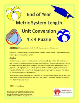 5th (Fifth) Grade Common Core-End of Year Metric Length Unit Conversion Puzzle