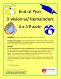5th (Fifth) Grade Common Core-End of Year-Summer-Division with Remainders Puzzle