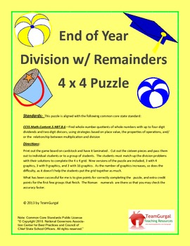 5th (Fifth) Grade Common Core-End of Year-Summer-Division