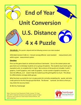 5th (Fifth) Grade Common Core-End of Year U.S. System Length Unit Puzzle