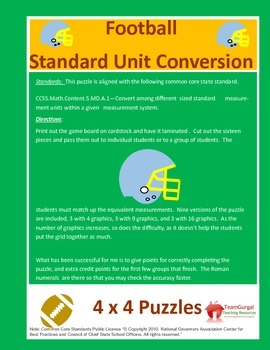 5th (Fifth) Grade Common Core- Football Standard System Length Unit Puzzle