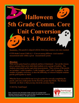 5th (Fifth) Grade Common Core- Halloween U.S. System Length Unit Puzzle