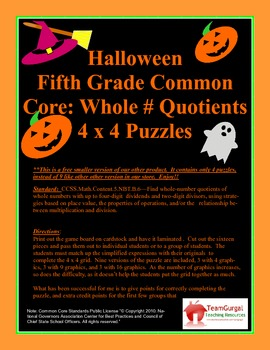 5th (Fifth) Grade Common Core- Halloween Whole Number Quotient Division - FREE