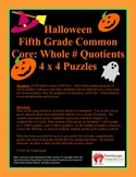 5th (Fifth) Grade Common Core- Halloween Whole Number Quotient Division Puzzles