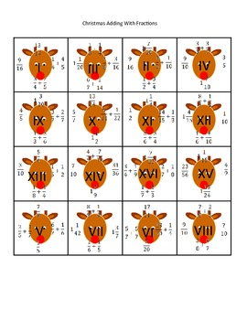 5th (Fifth) Grade Common Core Math- Christmas Adding Fractions Math Puzzles