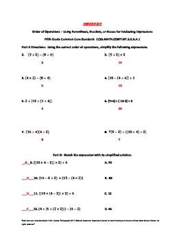 5th (Fifth) Grade Common Core Math Worksheet - Brackets, Braces, Parenthesis