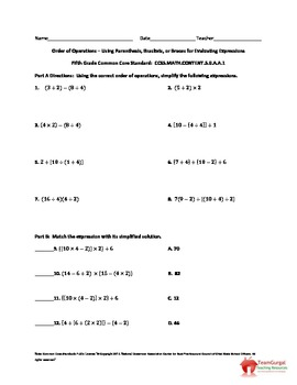 5th (Fifth) Grade Common Core Math Worksheet - Brackets, B