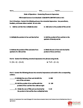 5th (Fifth) Grade Common Core Math Worksheet - Converting Phrases to Expressions