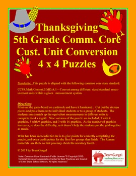 5th (Fifth) Grade Common Core- Thanksgiving Standard Syste