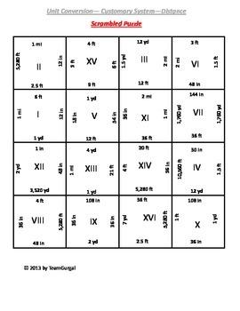 5th (Fifth) Grade Common Core - U.S. Customary Length Unit Conversion Puzzle