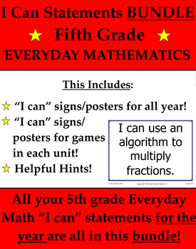 5th Fifth Grade I Can Statements Common Core Standards 4 Everyday Math Bundle