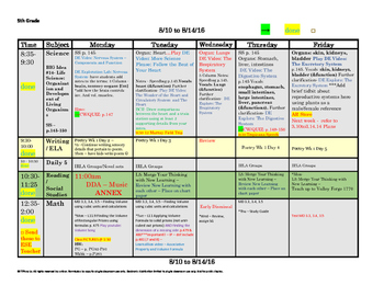 5th Fifth Grade Lesson Plan Template: 1 Week, 1 Glance + Common Core Stnds Lists