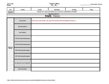 5th Fifth Grade Weekly Lesson Plan Template w/ Florida Standards Drop Down Lists
