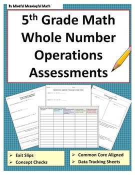 5th Grade Math Assessments - Whole Number Operations
