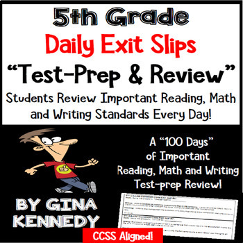 5th Grade Exit Slips, Math, Writing & Reading Daily Test-Prep Review!