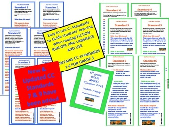 5th GRADE Fiction FRIENDLY CC STANDARDS BOOKMARKS