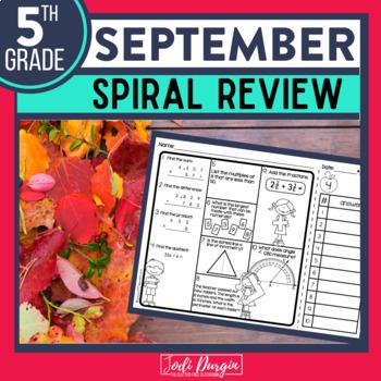 FIFTH Grade Math Homework or 5th Grade Morning Work for SEPTEMBER