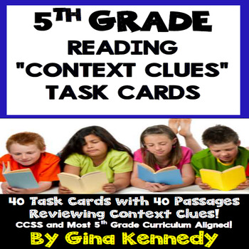 """5th Grade Context Clues, 40 """"Short Reading Passages"""" Task Cards"""