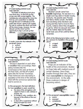 """5th Grade STAAR Reading Context Clues, 40 """"Short Passages"""" Task Cards"""