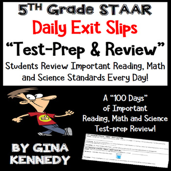5th Grade STAAR Math, Science & Reading Daily Test-Prep Review Exit Slips