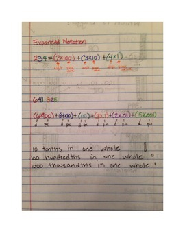 5th Gade 5.2A Notes- Place Value and Expanded Notation