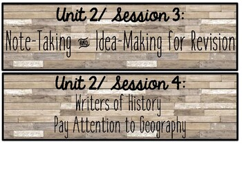 5th Gr. Lucy Calkins WUOS Session Cards {Units 1-4 + Lit Ess} Farmhouse