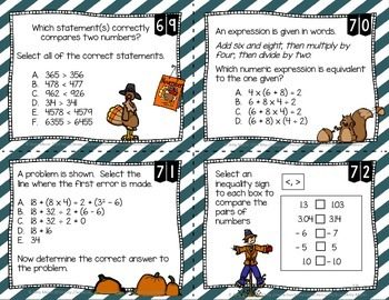 5th Grade 100 Math Task Cards FSA Style Questions  Fall Themed