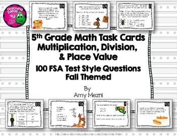 5th Grade 100 Math Task Cards FSA Style Questions Ink Saver Version Fall Themed