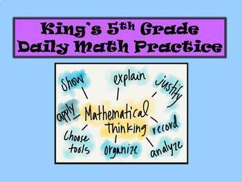 5th Grade 1st Nine Weeks of Daily Math