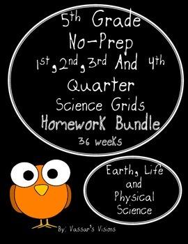 BUNDLE - 5th Grade Science Grids No-Prep Homework -  36 Weeks Included