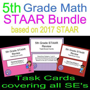 5th Grade 2017 STAAR Review Bundle Scoot Cards