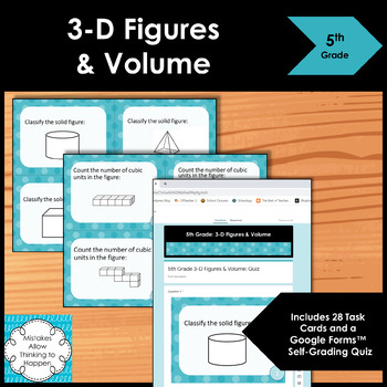 5th Grade 3-D Figures and Volume- Math Task Cards