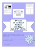 5th Grade 35 CCSS Aligned worksheets & activities-for Sub Folder, Sub Tub
