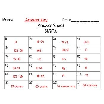 5th Grade 5.NBT.6 Dividing by 2-Digit Divisors Task Cards